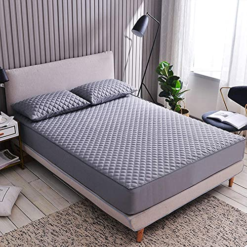 CHAJI Cubierta Premium del colchón con Cremallera, Tapa de colchón de Tela de algodón, sábana de Cama Acolchada con Todo Incluido de Seis Lados de 20 cm de 20 cm,Gris,150x200cm