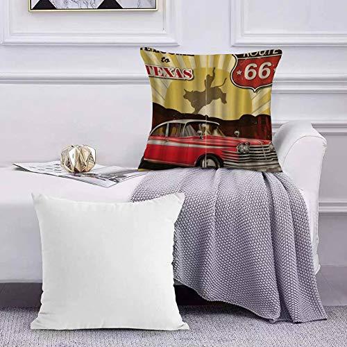 Ccstyle Moderne Dekorative Baumwolle Set Kissenbezug Texas Car Cowboy Zitat, Kopfkissenbezug Pillowcase Kissen für Wohnzimmer Sofa Bed,50x50cm