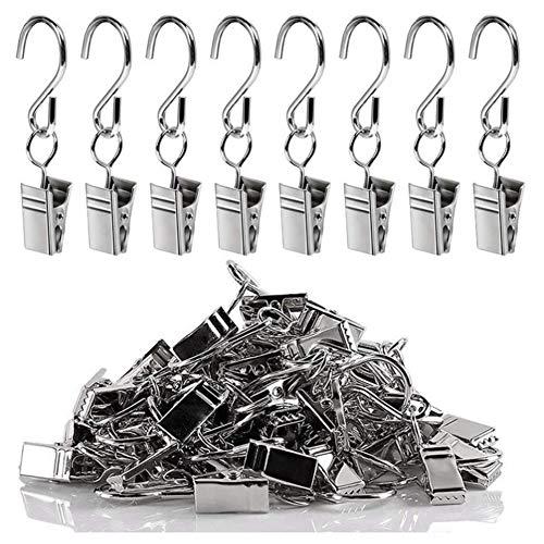JPYH 50 Packung Metall Clips Haken für Gardinen & Vorhänge,Mini Mehrzweck Gardinenhaken,Gartenschnur-Lichtaufhänger oder Party Lights-Clips,Fotos Clips-Silber