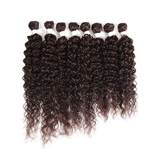 X-TRESS Dark Brown Kinky Curly Synthetic Hair Weave Bundles 16 18 20 inch 8Pieces Sew-in Weaves 30% Human Hair Weft Extension High Temperature Fibre (#2)