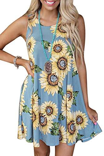 Yidarton Sommerkleider Damen Casual Ärmellos Rundhals Strandkleider Blumen Bedrucktes Trägerkleid Kurz Kleider mit Taschen (B-Hellblau, S)