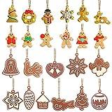 23 piezas de adornos colgantes para árbol de Navidad, decoración de pan de jengibre, copos de nieve, muñeco de nieve, reno para decoraciones de fiesta de Navidad