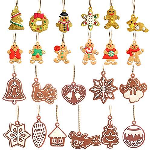 23 Stück Weihnachtsbaum-Hängeornamente Mini-Lebkuchen-Dekorationen Haus Schneeflocke Schneemann Rentier Anhänger für Weihnachten Party Dekorationen