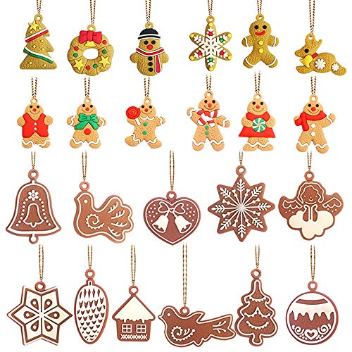 23Pcs Christmas Tree Hanging Ornaments Mini Gingerbread Decorations House Snowflake Snowman Reindeer Pendants for Christmas Party Decorations