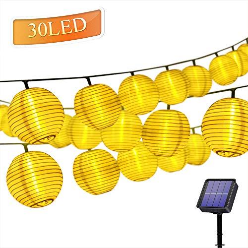 Solar Lichterkette Lampions 30er LEDs 6,4Meter Außen Lichterkette Laterne, Solarbetrieben Warmweiß Wasserfest Dekoration für Garten Balkon Terrasse