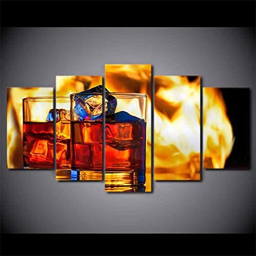 LTXMZ Carteles de decoración del hogar, Arte de Pared para Sala de Estar, 5 Paneles, Bebida de Hielo, Vino Tinto, Pintura Moderna sobre Lienzo, imágenes Impresas en HD