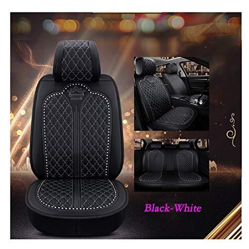 EverFabulous Asientos de automóvil de Lujo para automóvil Cubiertas Juego Completo de 5 Asientos Ajuste Universal (Negro-Blanco)