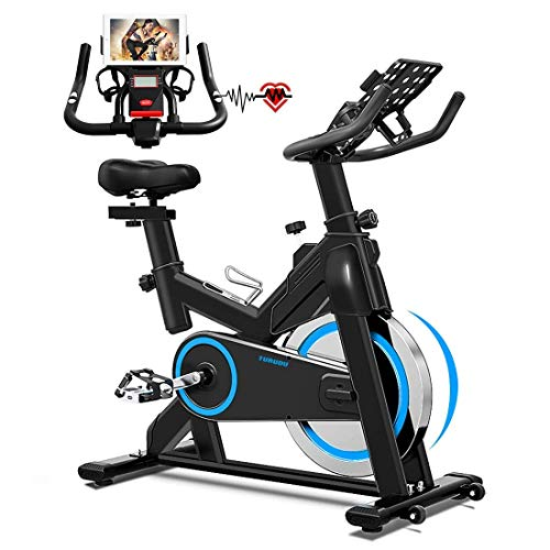 TURUDU Spinning Bike, Indoor Cycling Bike Stationary, Belt Drive Indoor Exercise Bike for Home Cardio Gym, with 35 LBS Upgraded Solid Flywheel, LCD Display & Comfortable Seat Cushion