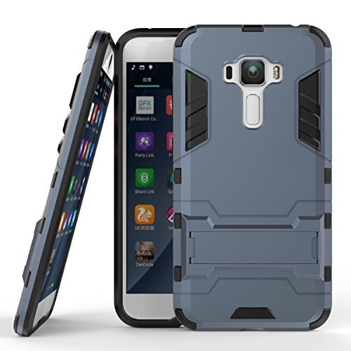 MaiJin Case for Asus ZenFone 3 ZE552KL (5.5 inch) 2 in 1 Shockproof with Kickstand Feature Hybrid Dual Layer Armor Defender Protective Cover (Blue Black)