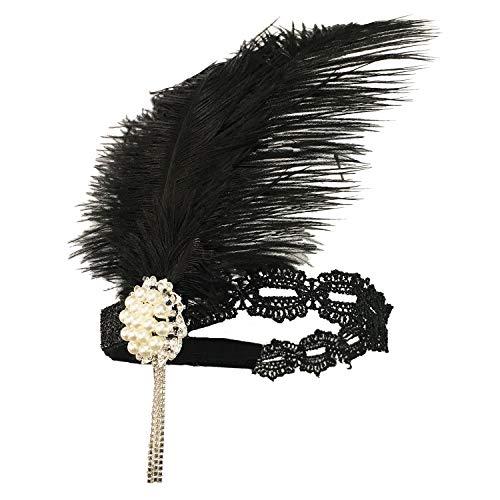 1920s Great Gatsby Accessories Set for Women,Costume Flapper Headpiece Headband (Medium, M42)