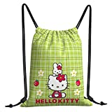 Cute Hello-Kitty Kitty-White Drawstring Backpack String Bag Sackpack Cinch Water Resistant Polyester Gympack for Camping Hiking Swimming