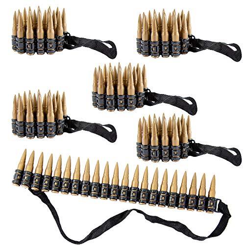 Oblique Unique® 6X Patronengürtel zum Umhängen Kinder Spielzeug Munitionsgürtel für Kindergeburtstag Soldat Cowboy Kostüm Zubehör Fasching Karneval Rollenspiel Cosplay Motto Party