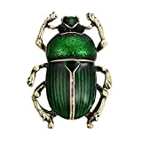 Tvoip Vintage Beetle Brooches for Women Kids Enamel Animal Insects Brooch Pins (Green)