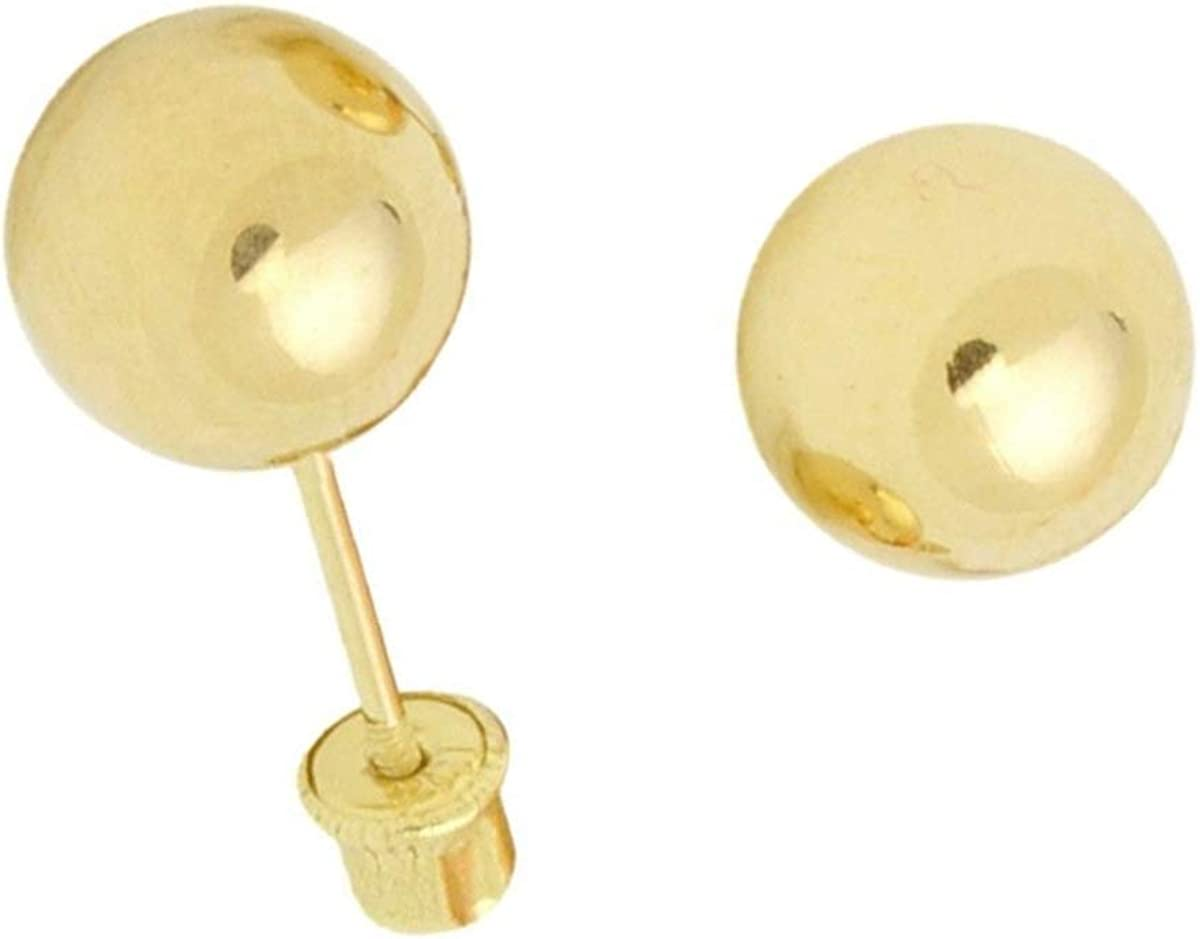 14K Yellow Gold 6mm Screw Ball Earrings With Screw Back