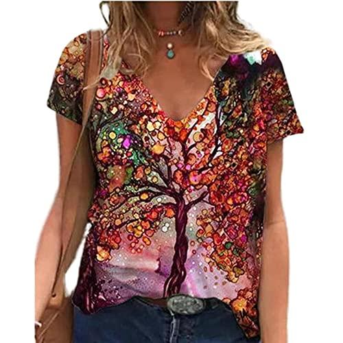 Elesoon Camiseta de verano para mujer, talla grande, manga corta, diente de león geométrico, diseño gráfico de árbol, blusa suelta, B-red Tree, 44