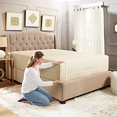 """Empyrean Bedding 18"""" - 21"""" Extra Deep Pocket Fitted Sheet for High Mattress- Hotel Luxury Silky Soft Double Brushed Microfiber Sheet - Hypoallergenic Wrinkle Free Cooling Bed Sheet, Queen - Cream"""