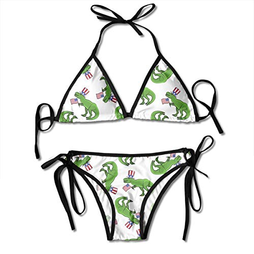 Independence Day Birthday Patriotic 4TH July Happy American Dinosaur Patterned Printed Female Ladies Women Girl Summer Beach Dress Bikini Two-Piece Swimsuit Adult Costume Bathing Suit Apparel Black