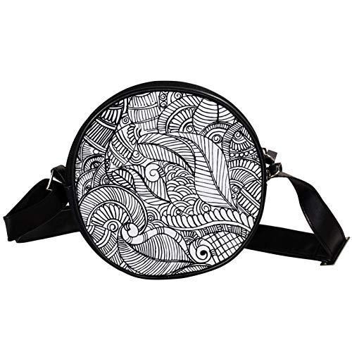 Bandolera redonda pequeña bolso de mano para mujer, bolso de hombro de moda, bolso de mensajero de lona, bolsa de cintura, accesorios para mujer, color negro y blanco mandala henna