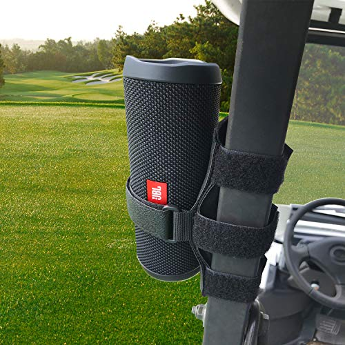 HomeMount Golf Cart Speaker Mount - Golf Cart Accessories Adjustable Strap Speaker Holder Compatible with JBL Flip 4/JBL Flip 5 Etc Most Portable Speakers