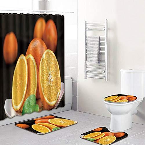 ETH Oranje Patroon Douchegordijn Vloermat Badkamer Toiletbril Vierdelig Tapijt Waterabsorptie Ververvaagt Niet Veelzijdig Comfortabele Badkamer Mat Kan Machine Wassen duurzaam