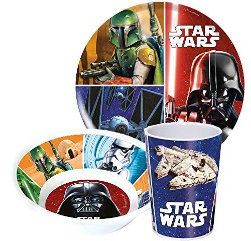 Disney Star Wars - Vajilla infantil con plato, cuenco para cereales y vaso de melamina