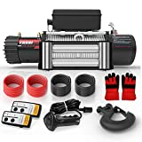 Ayleid 12V 13000lb Electric Winch Waterproof IP67 for Truck ATV SUV with Steel Rope Wireless Remote Control(Grind Arenaceous Black.