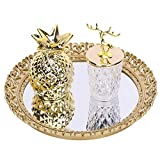 Zosenley Decorative Mirror Tray, Round Vanity Organizer for Perfume, Makeup, Jewelry and Decor, Vintage Floral Display and Serving Tray for Ottoman, Coffee Table, Dresser and Bathroom, 11.6