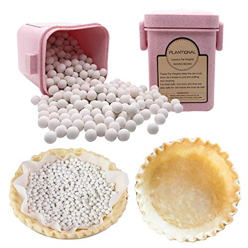 PLANTIONAL Pie Weights For Baking: 1.32 LB 10mm Baking Ceramic Beans Pie Crust Weights With Wheat Straw Container For Blind Baking Pastry(Pink)