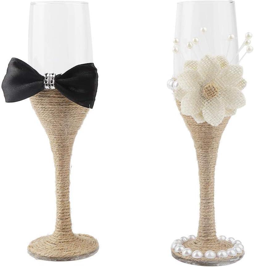 Juego de copas de champán, Delaman Western Wedding Champagne Cup Novia y novio Copa de vino Set Wedding Goblet 2PCS