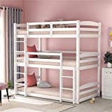 Wood Triple Bunk Beds for Kids Toddlers Twin Size 3 Bunk Bed Frame with Built-in Ladders, Can be Divided Into 3 Separate Beds,Gray