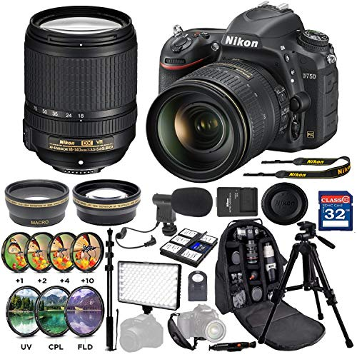 Nikon D750 24.3MP Digital SLR Camera with Nikon AF-S DX NIKKOR 18-140mm f/3.5-5.6G ED Vibration Reduction Zoom Lens Professional Accessory Package