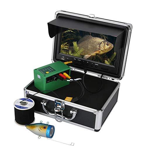 XJJY Cámara Pesca, cámara de la Pesca submarina con la DVR 9 Pulgadas del Monitor de Alta definición 1000TVL Pesca subacuática Buscador de visión de la cámara de Hielo, Lago,Pesca,50m,EU