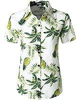 JOGAL Women's Floral Blouse Casual Button Down Short Sleeve Aloha Hawaiian Shirt Medium WhitePineapple