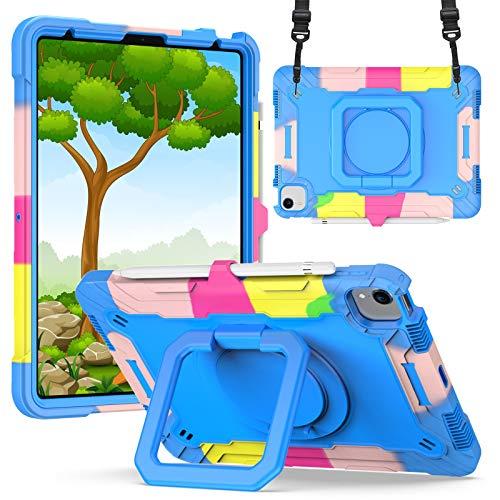 KATUMO Funda Compatible con iPad Air 4 10,9 Pulgadas, Funda para iPad 10,9 2020 (Soporte Giratorio de 360 °, Correa y portalápices) Funda Protectora a Prueba de Golpes para niños,Azul Camuflaje