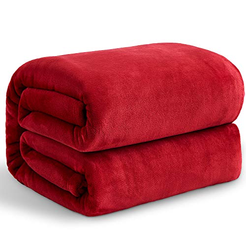 Hansleep Kuscheldecke Rot 220x240 cm Wohndecke Fleecedecke extra Weich und Warm Sofadecke/Couchdecke Flauschige Decke Mikrofaser Bettüberwurf Tagesdecke