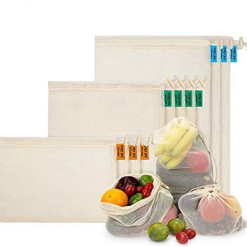 Bolsas de Malla Reutilizables, Bolsas de Comestibles 10 Piezas Bolsas de Algodón Orgánico para Frutas y Vegetales para Almacenar Comida, IR de Compras y Guardar Juguetes