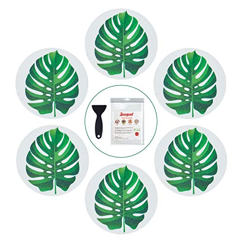 Secopad Non Slip Bathtub Stickers, 10 PCS Large Leaves Adhesive Anti Slip Decal Threads for Shower and Bath Tub with Premium Scraper