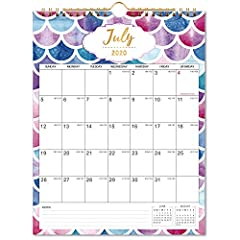 """🐟 MONTHLY OVERVIEW - 18 monthly wall calendar covers months from July 2020 - December 2021. The size is 11"""" x 8.5"""", monthly overview pages and note sections enable you to make a better plan. 🐟 RULED BLOCKS - Daily blocks offer writing space for your ..."""