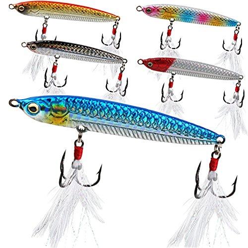 Sougayilang Fishing Jigging Lures 3/2oz Blade for Saltwater Freshwater Deep Water Sinking Hard Fishing Spoons Tackle Baits