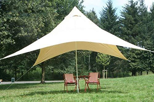 BlackOrange Camping-Freizeit-Sonnensegel (4) Pyramide 400 cm x 400 cm aus Polyester - Sandfarben als Sonnenschutz und Regenschutz für die ganze Familie oder als Partyzelt/Pavillion im Garten