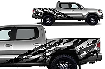 Factory Crafts Shred Side Graphics Kit 3M Vinyl Decal Wrap Compatible with Toyota Tacoma 4 Door Short Bed 2016-2020 - Matte Black