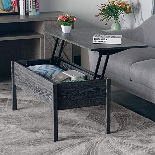 Wohnzimmertisch Holz, Kaffeetische, Wohnzimmertische, Wohnzimmertisch Rechteck (Klassisches Schwarz und Grau)