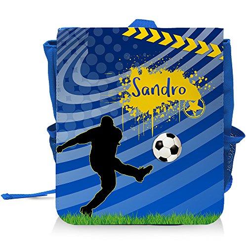 Kinder-Rucksack mit Namen Sandro und blauem Fußball-Motiv für Jungen