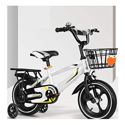 TOOSD Bicicleta Infantil De 12'14' 16'18' para Niñas Y Niños De 2 A 8 Años con Rueda Auxiliar Flash Y Freno Doble, Bicicleta De Entrenamiento con Marco De Acero Al Carbono,C,12