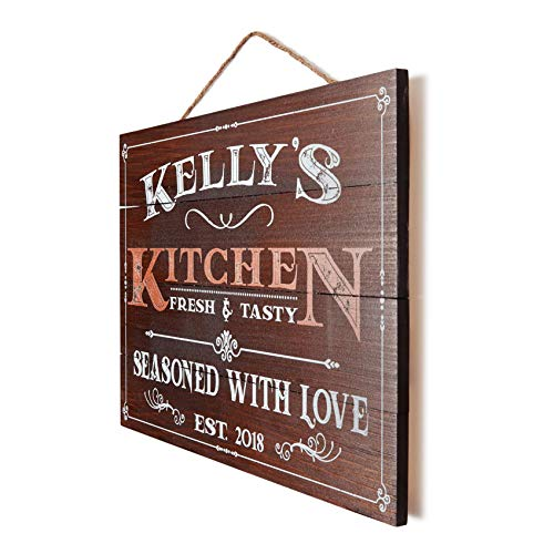 Artblox Personalized Wooden Kitchen Wall Decor | Farmhouse Kitchen Decor | Last Name Signs for Home | Family Sign | Housewarming Gifts | Wedding Gift - (13x9) - Brown