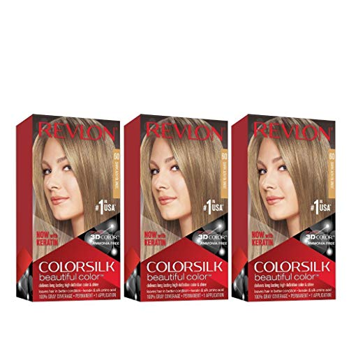 Revlon Colorsilk Beautiful Color, Permanent Hair Dye with Keratin, 100% Gray Coverage, Ammonia Free, 60 Dark Ash Blonde (Pack of 3)
