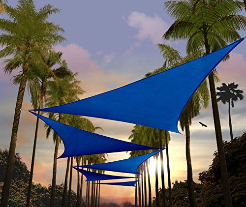 Amgo 16' x 16' x 16' Blue Triangle Sun Shade Sail Canopy Awning, 95% UV Blockage Water & Air Permeable, Commercial & Residential, for Patio Yard Pergola, 5 Yrs Warranty (Available for Custom Sizes)
