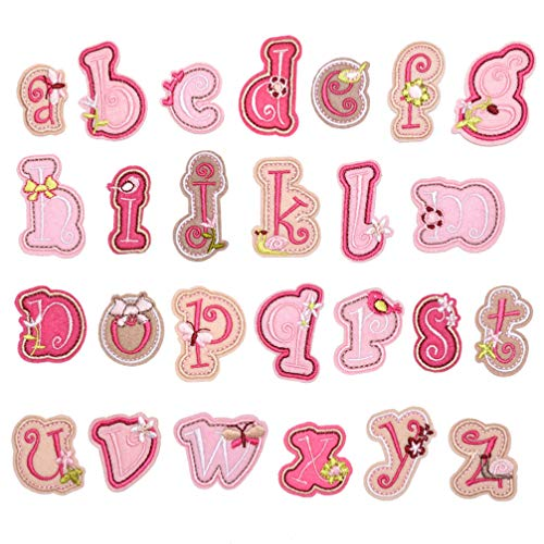 SUPVOX 26 Piezas Parches de Letras Parches de Alfabeto Nombre Personalizado Logotipo Insignia Parche Apliques Hierro Bordado en Parche para Ropa