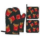 Set di 4 guanti da forno e presine,Schizzo realistico patatine fritte croccanti stile Doodle con scatole di carta rosse di patate fritte su uno sfondo di lavagna nera,Guanti con cuscinetti