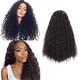 Pelucas rizadas negras naturales largas de 26 pulgadas para cabello brasileño sintético de agua de manantial (2#)